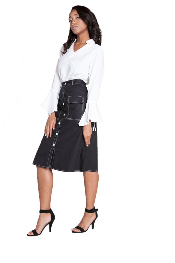 button front black midi skirt- side