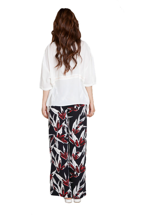printed wide leg pants- back