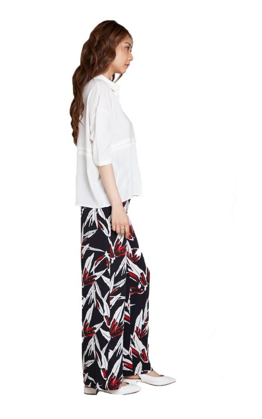 printed wide leg pants- side