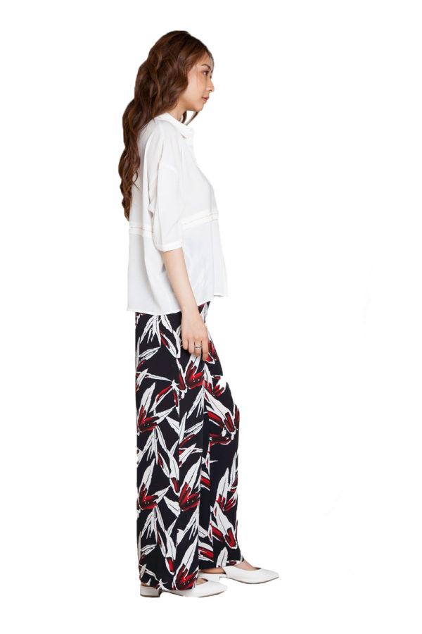 printed wide leg pants- side
