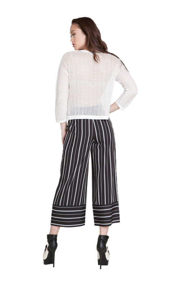 black and white striped culottes- back