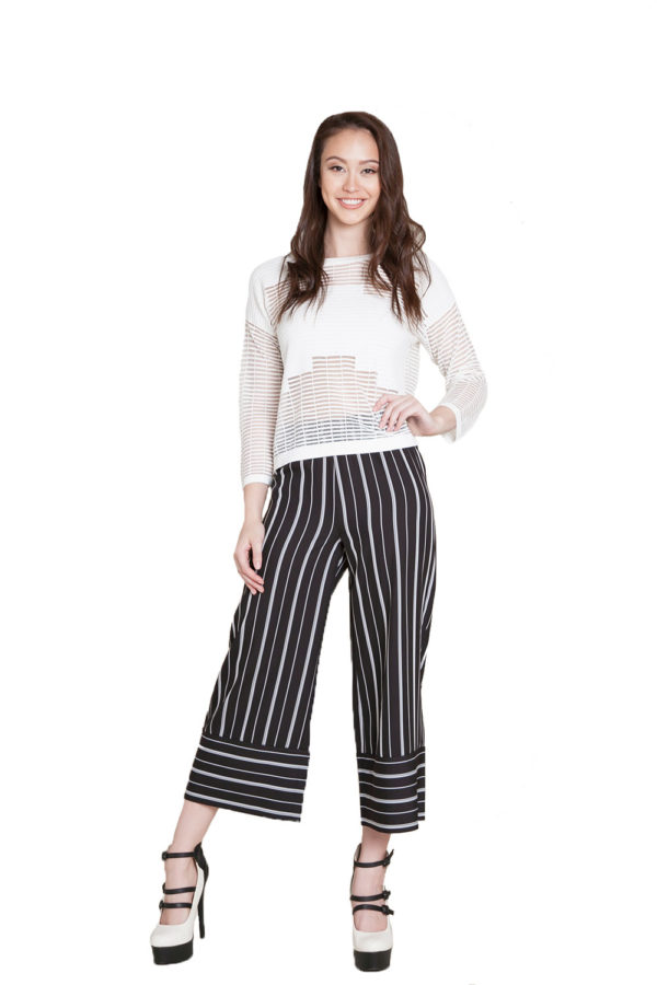 black and white striped culottes- front