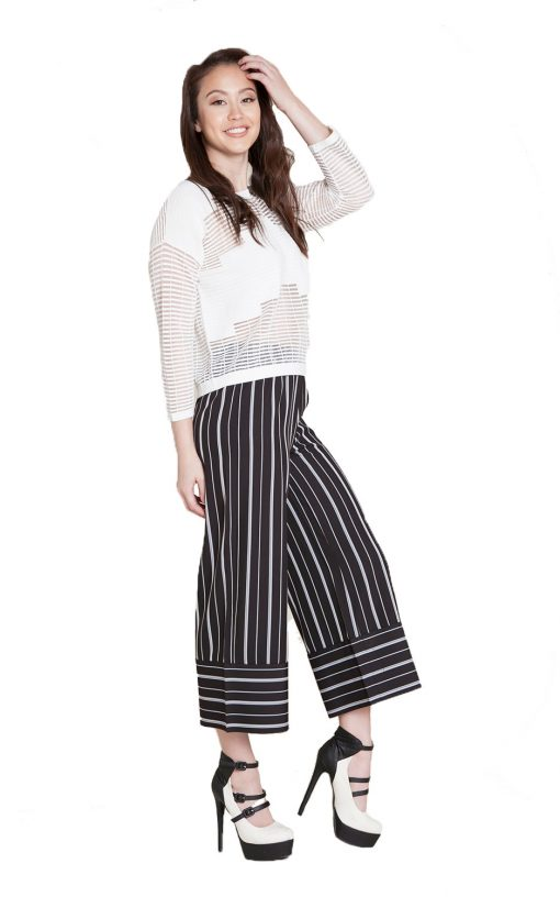 black and white striped culottes- side