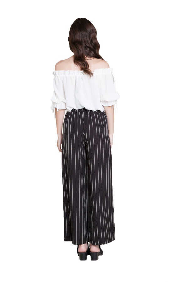 black and white striped snap pants- back