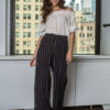 black and white striped snap pants- front