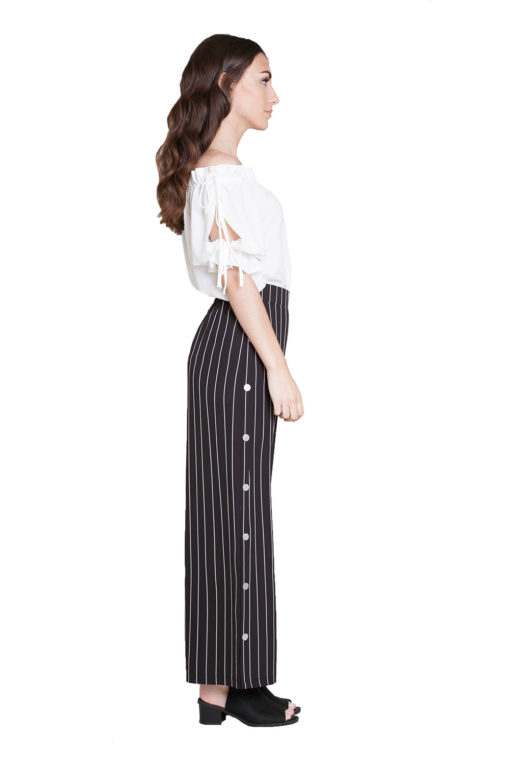 black and white striped snap pants- side