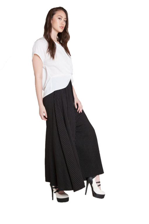 extreme wide leg striped pants- side