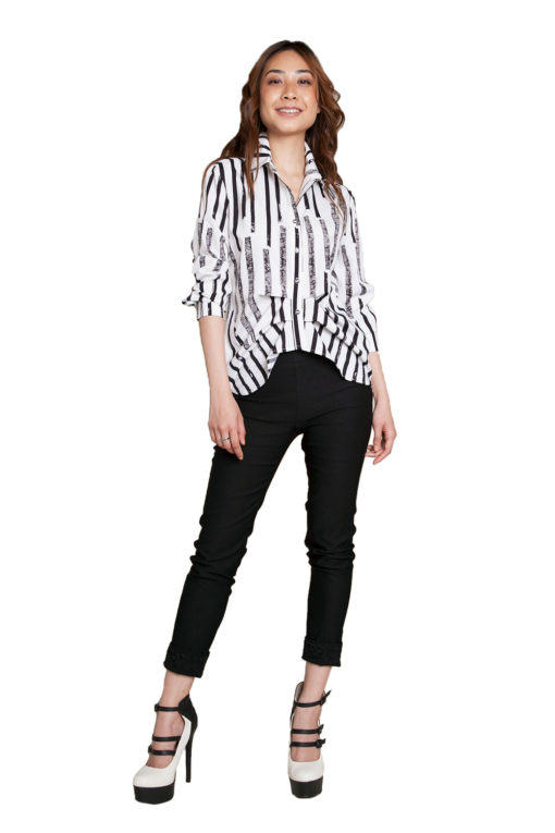 black and white printed blouse- front