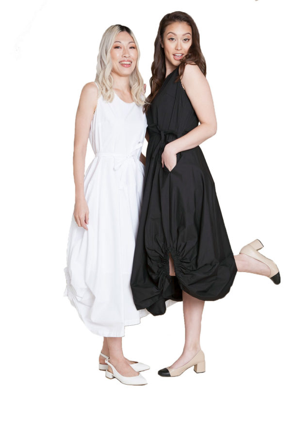 black balloon dress and white balloon dress- front