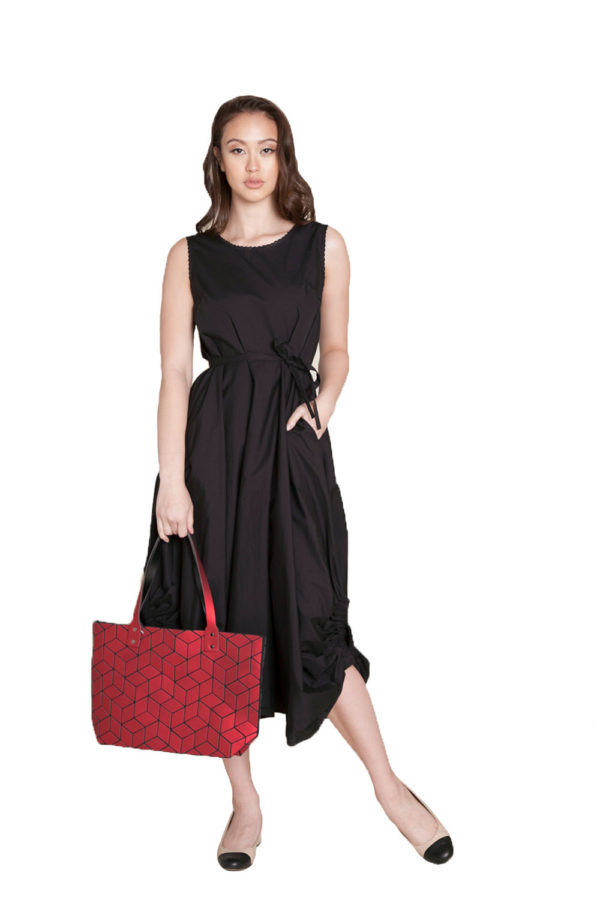 black balloon dress and red geo tote- front
