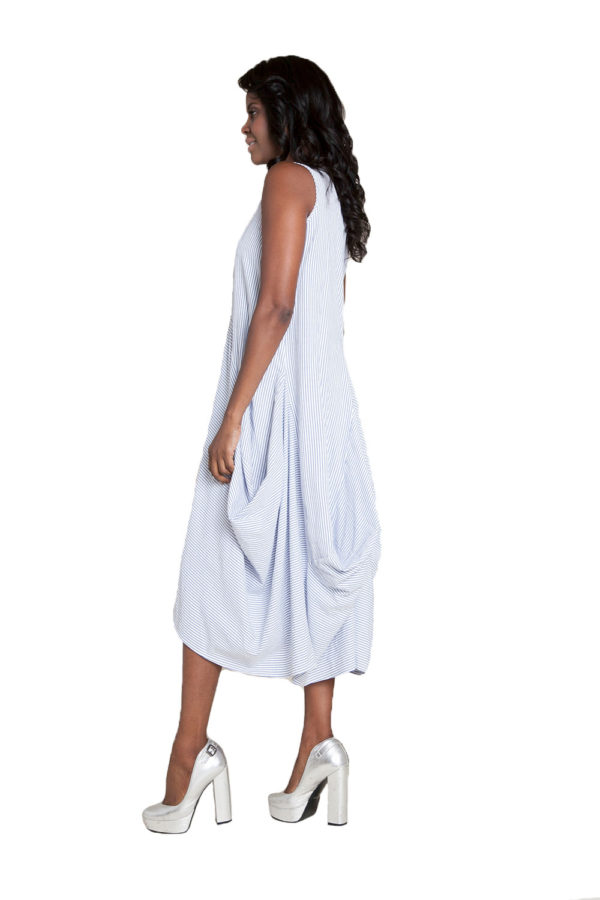 blue striped maxi dress- side