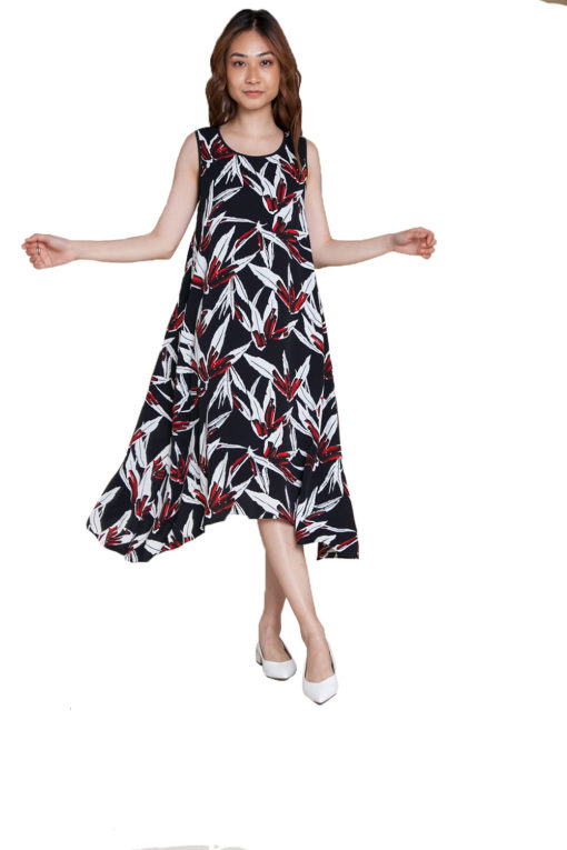 printed red dress- front