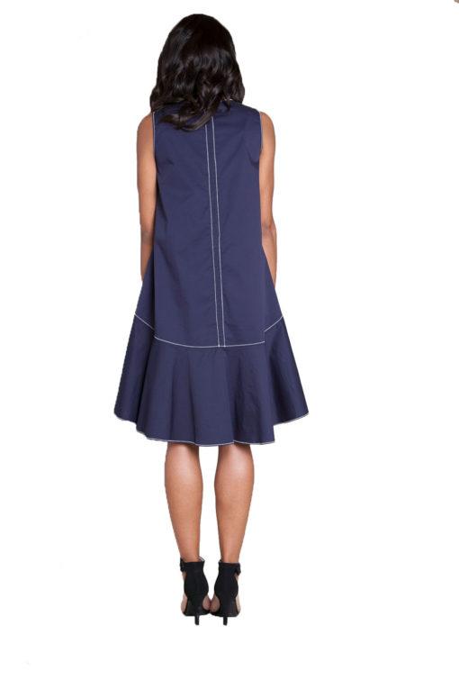 navy contrast stitch mini dress- back