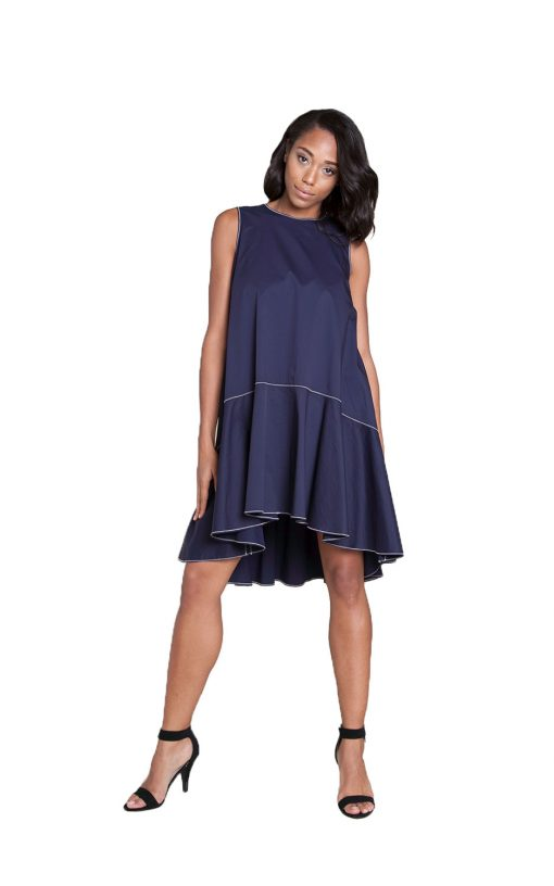 navy contrast stitch mini dress- front