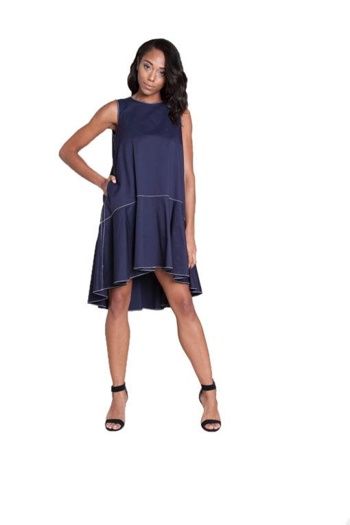 navy contrast stitch mini dress- front