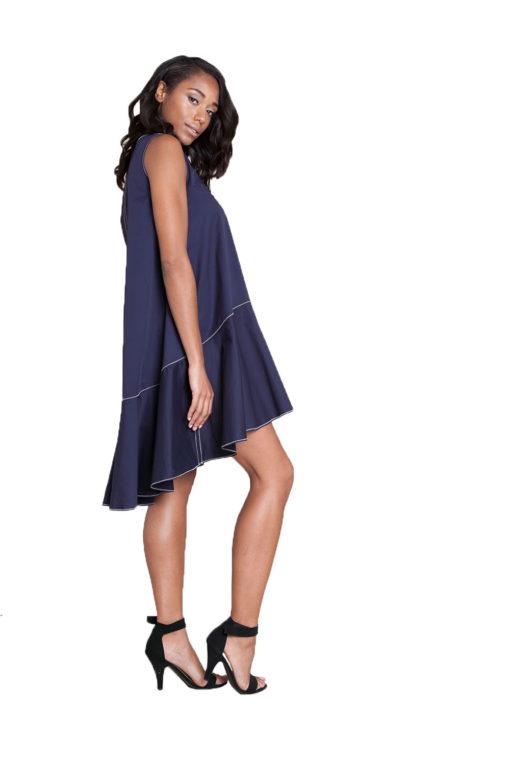 navy contrast stitch mini dress- side