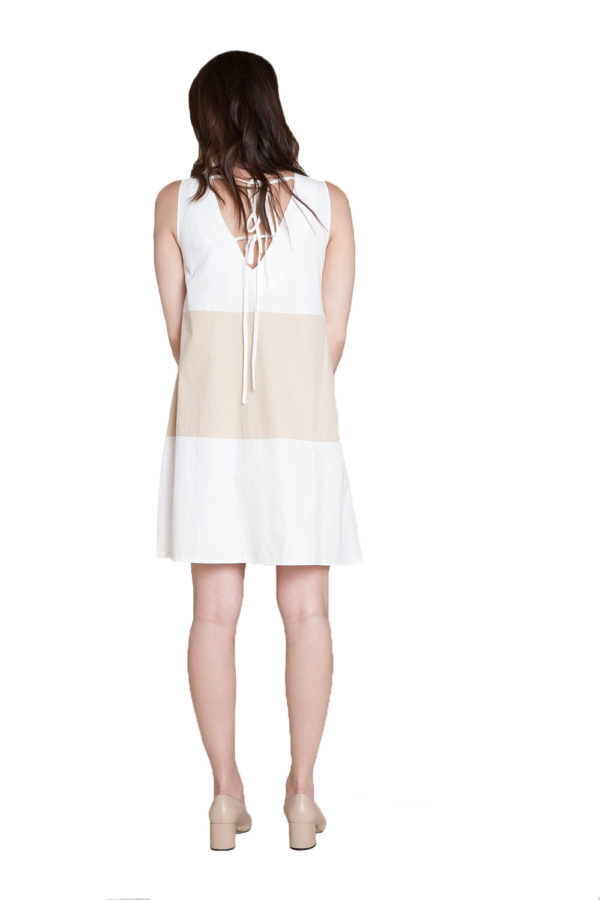 off white khaki color block dress- back
