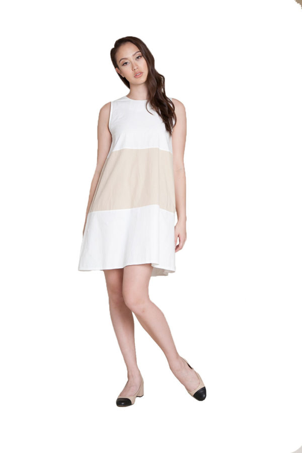 off white khaki color block dress- front