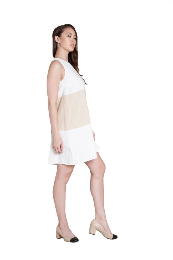 off white khaki mini dress- side