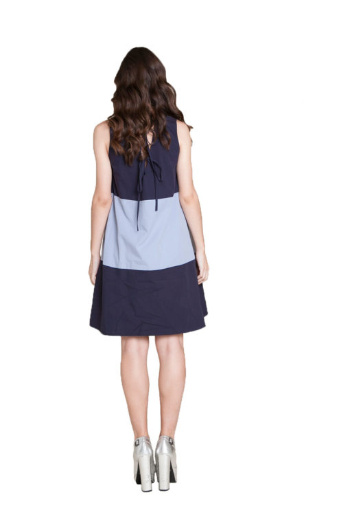 navy light blue mini dress- back