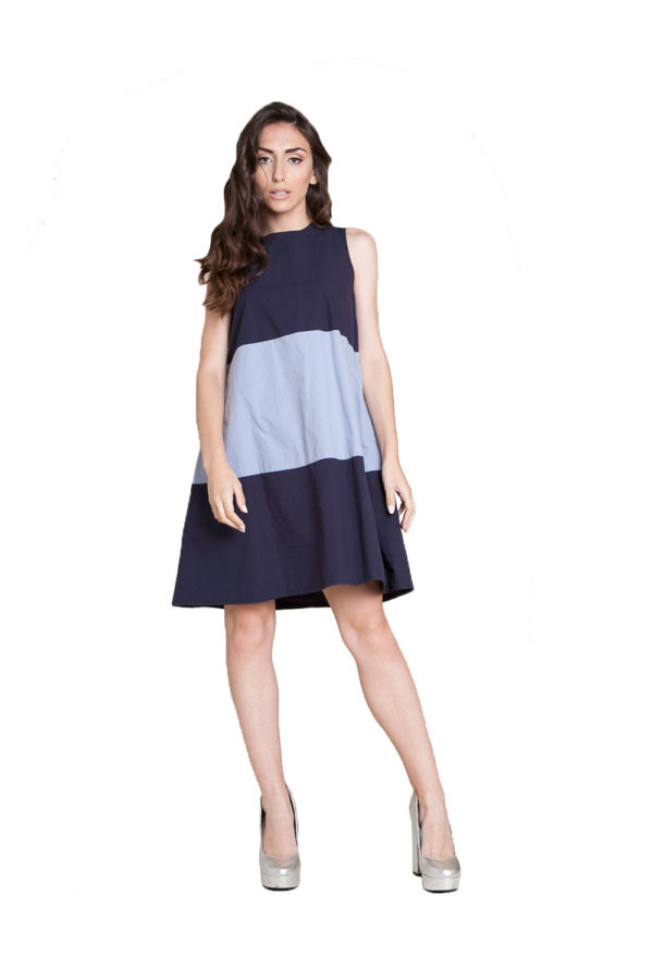 navy light blue mini dress- front