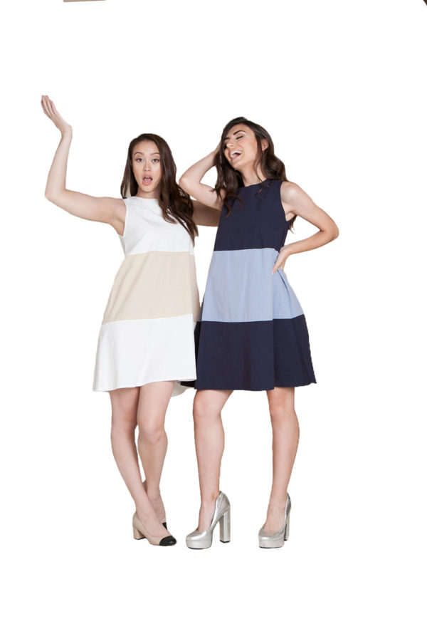 color block mini dresses- front