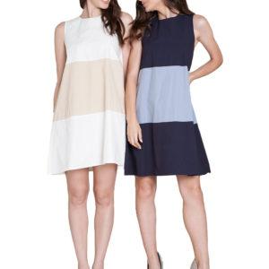 color block mini dresses- front