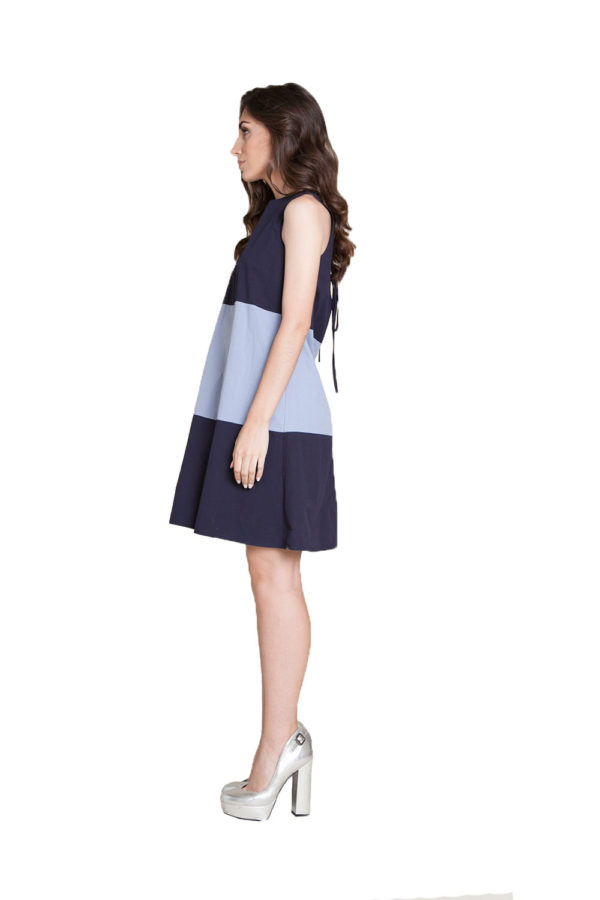 navy light blue mini dress- side