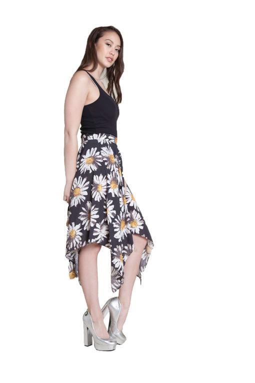printed floral skirt- side
