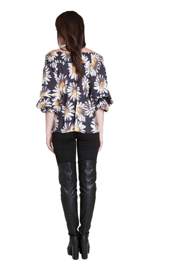 floral printed Bardot top- back