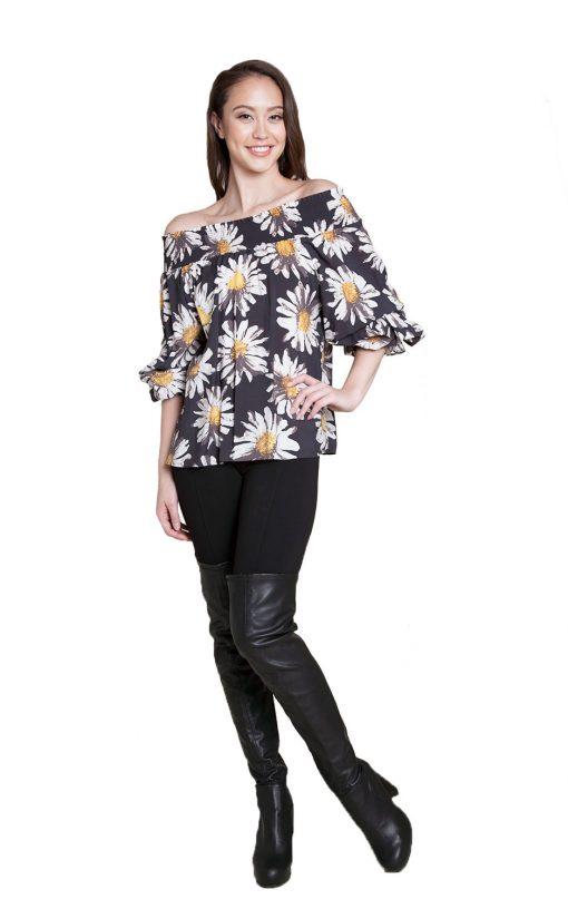floral printed bardot top- front