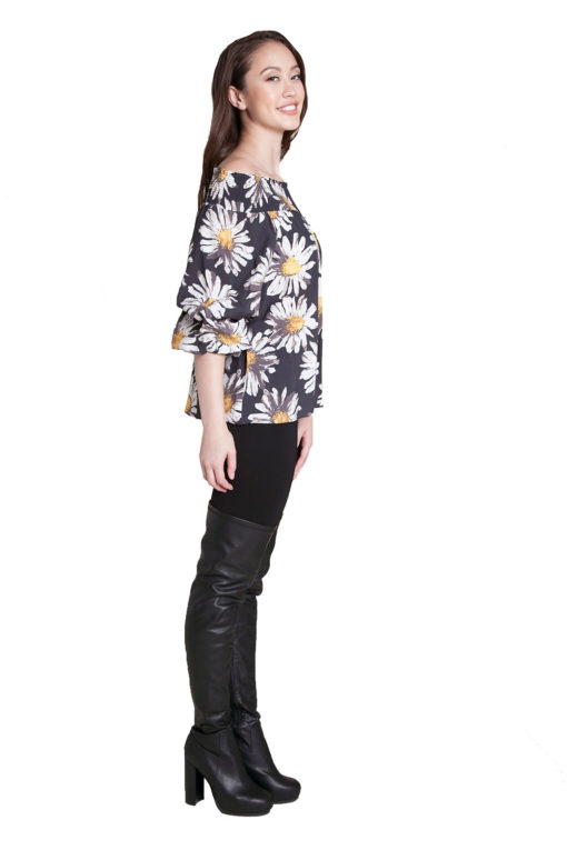 floral printed Bardot top- side