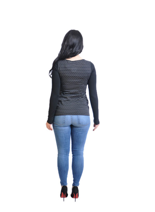 striped black long sleeve top- back