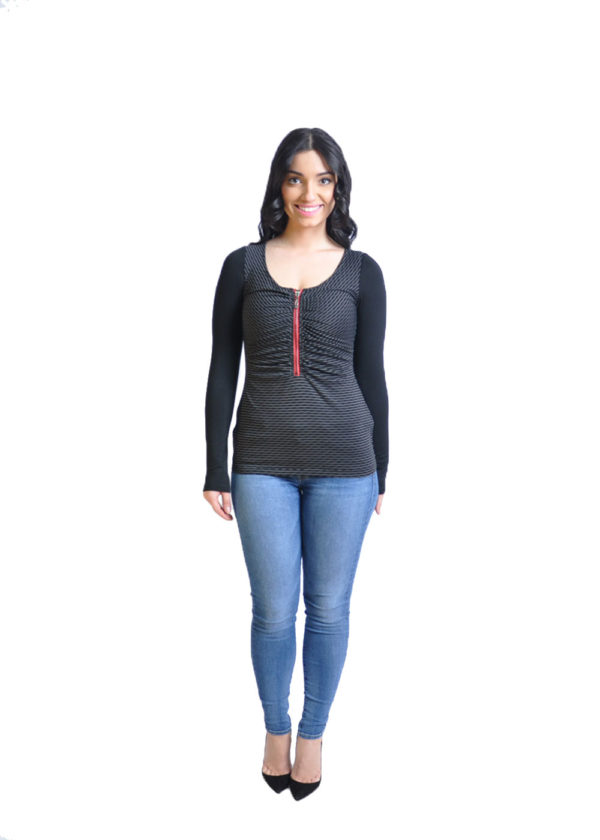 striped black long sleeve top- front