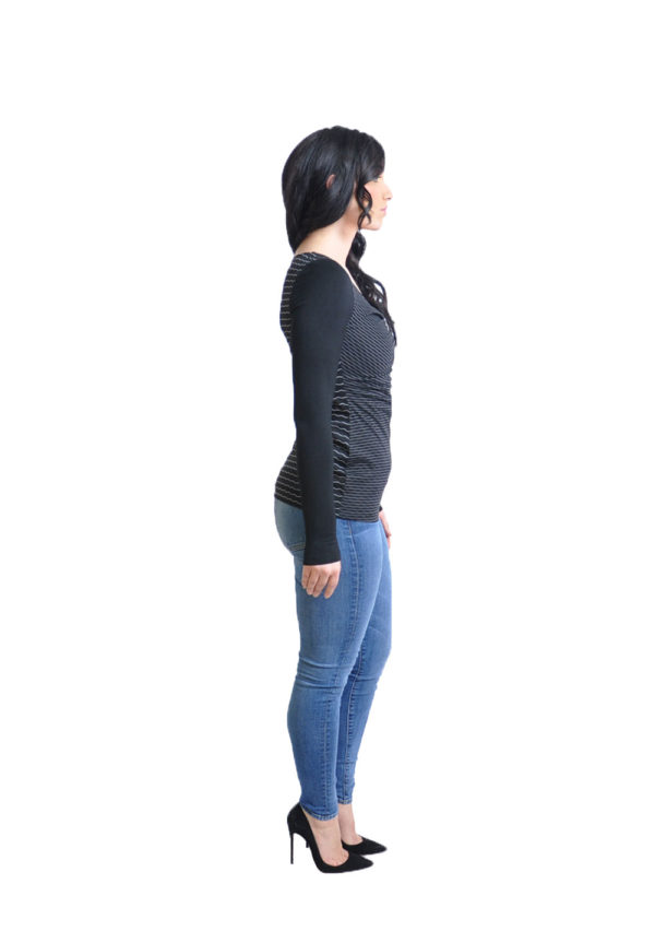 striped black long sleeve top- side