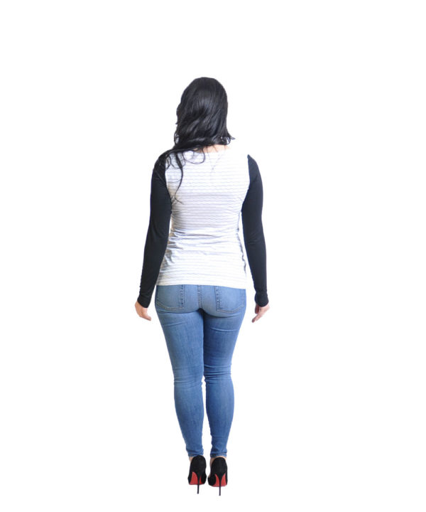 striped white long sleeve top- back