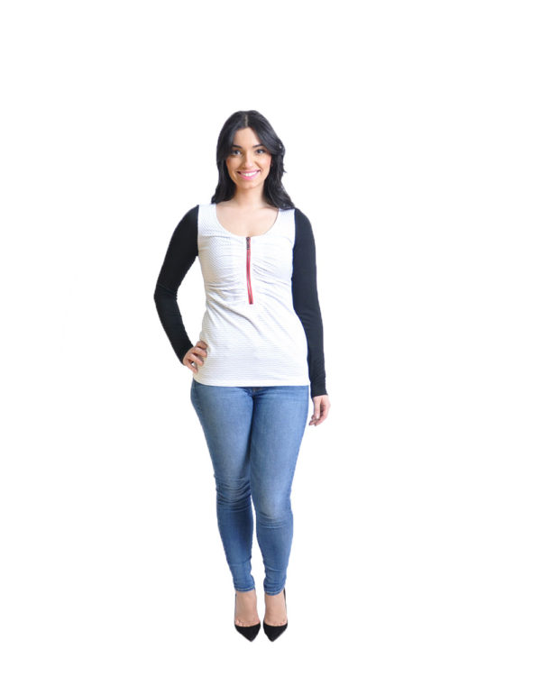 striped white long sleeve top- front