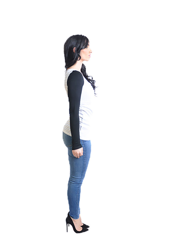 striped white long sleeve top- side