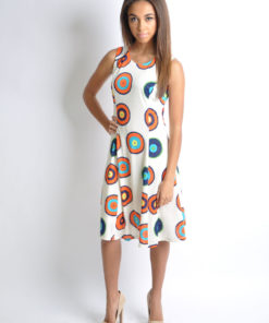 white printed sleeveless dress- front