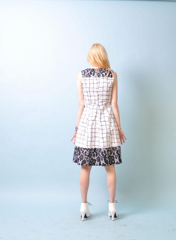 black and white printed dress- back