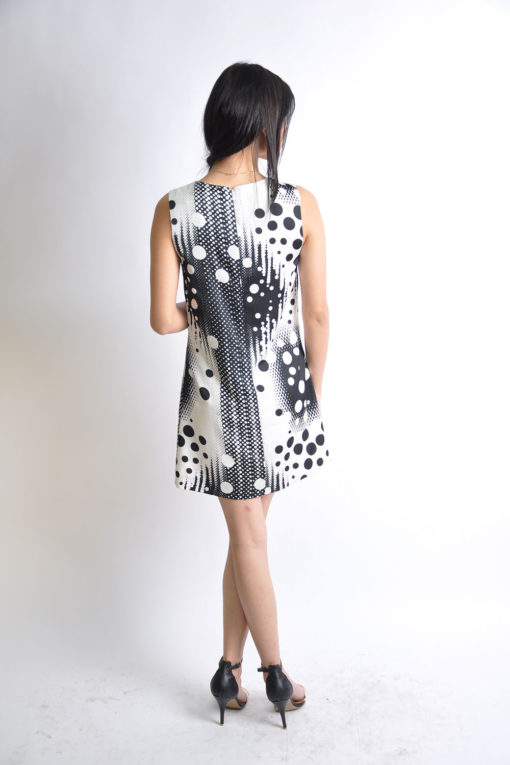 black and white printed dress- back