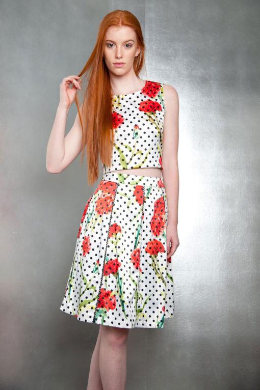 floral polka dot top- front