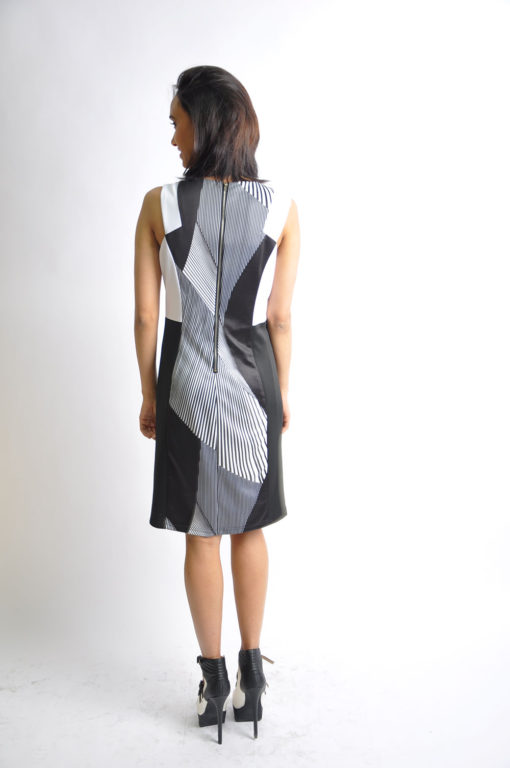 black and white striped dress- back