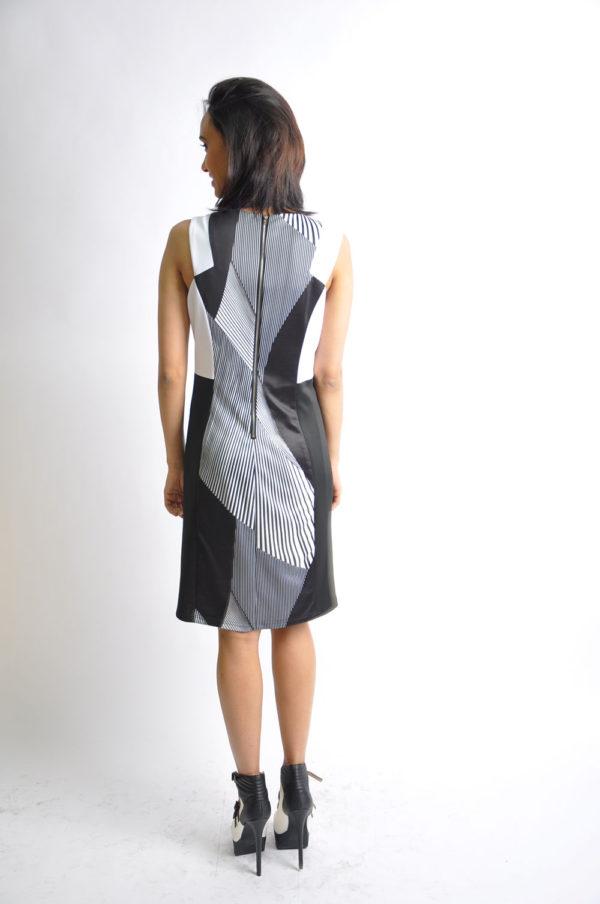 black and white striped dress- back