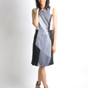 black and white striped dress- front