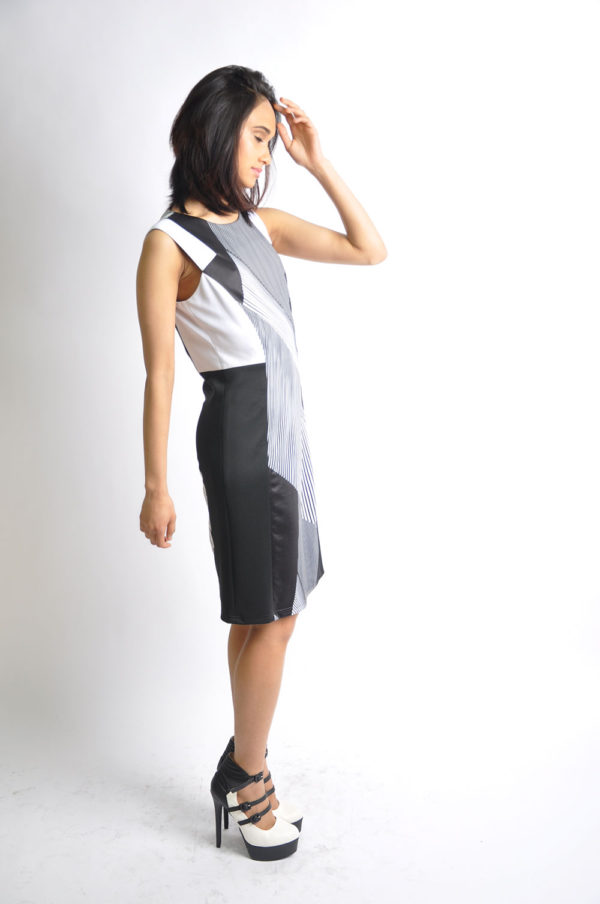 black and white striped dress- side