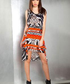 printed orange dress- front
