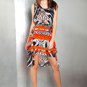 printed orange dress- front