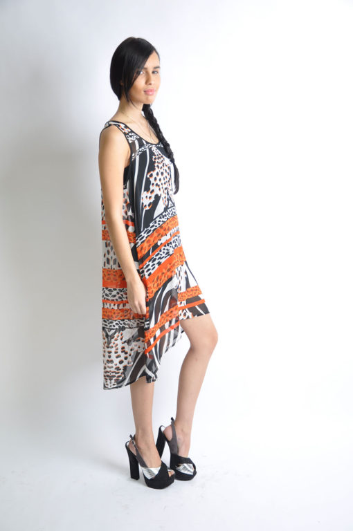 printed orange dress- side