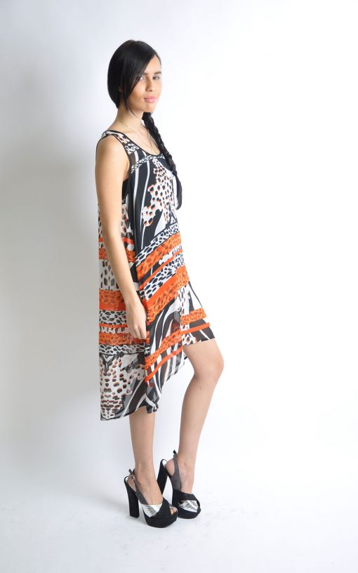 printed orange dress- side